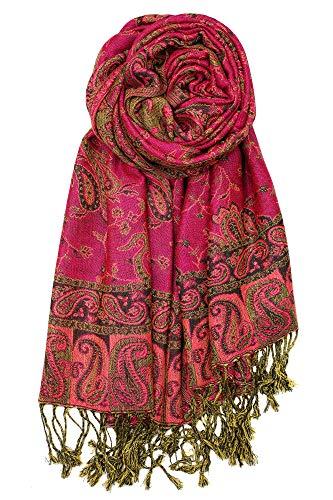 Achillea Soft Silky Reversible Paisley Pashmina Shawl Wrap Scarf w/Fringes (Fuchsia)