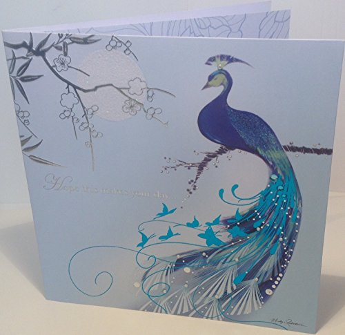 ARABESQUE KIMONO Peacock Blue Birthday Greeting Card by Marilyn Robertson - 6.25 x 6.25 inches