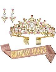 Birthday Queen Sash, Rhinestone Crown & Earring Kit - Birthday Party Decorations - Happy Birthday Sash and Tiara for Women