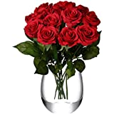 Feyarl 12-Piece 17.4inch Real Touch Artificial Flowers Roses (Vase Not Included) - (Red)