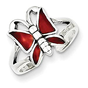 Lex & Lu Sterling Silver Antiqued Red Enameled Butterfly Toe Ring