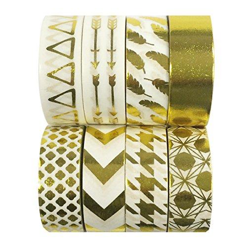 Wrapables Metallic Foil Washi Masking Tape Collection (Set of 8), 08WPSET05 ()