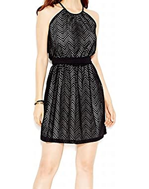 Guess Women's Chevron Knit Halter Blouson Dress Black 8