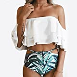 #7: Women Bikini Set Daoroka Ladies Sexy Fashion 2 Piece Ruffled Off-Shoulder Leaves Print Mid Waist Push-up Padded Casual Bikini Spa Swimsuit Swimwear Beachwear Bathing Suit Monokini (L, White)