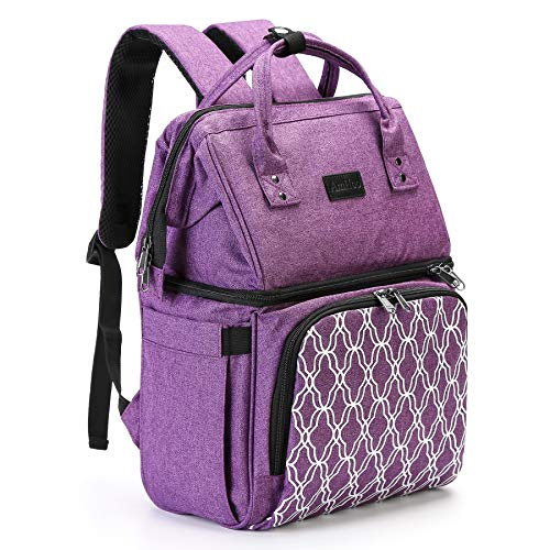 AmHoo Insulated Lunch Box Cooler Backpack Waterproof Leak-proof Lunch Bag Tote For Men Women,Hiking/Beach/Picnic/Trip with Strongest YKK Zipper,Purple
