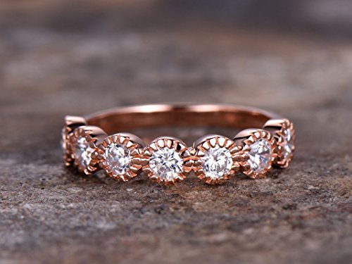 Half eternity ring,925 sterling silver wedding band,anniversary ring.Art deco antique.stacking matching band,rose gold plated,bezel set,Man Made diamond CZ ring,any size Diamond Bezel Set Mens Band