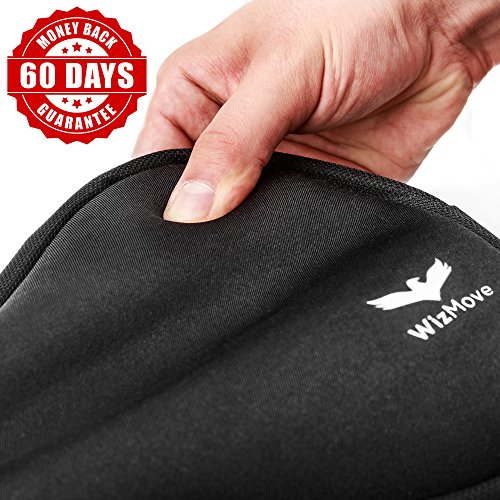 WizMove Bike Gel Seat Cushion Improved Non Slip Bottom Design with Water Resistant Cover – Extra Comfort for Road, Mountain or Spinning Class Cycling Great for Indoor and Outdoor Riding