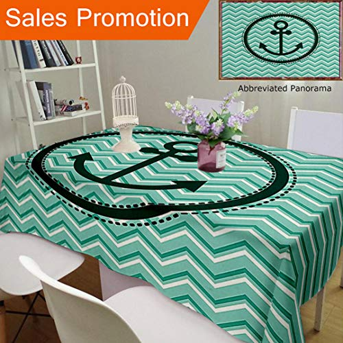 Unique Design Cotton and Linen Blend Tablecloth Anchor Decor Horizontal Zig Zag Pattern Background Anchor Image in Circle Shape Medallion Custom Tablecovers for Rectangle Tables, Large Size ()