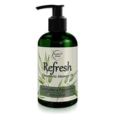 Refresh Massage Oil with Eucalyptus & Peppermint Essential Oils - Great for Massage Therapy. Stress Relief & All Natural Muscle Relaxer. Ideal for Full Body Massage – Nut Free Formula 8.5oz