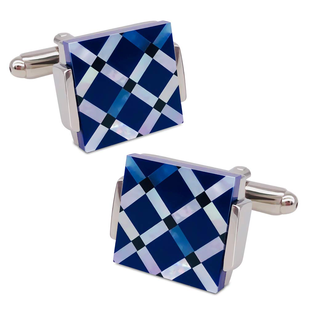 VIILOCK Mother of Pearl Mix Colorful Cufflinks Set with Gift Bag (Blue)