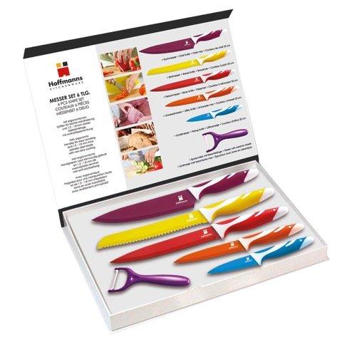 Messer-Set 6-teilig Bunt Küchenmesser Anti-Haft-Beschichtung Sparschäler - Milumi Edition