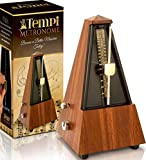 Tempi Mechanical Metronome for Musicians (Faux Mahogany) with Beat Bell, Cleaning Cloth and 2-Year Warranty