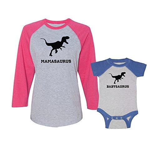 We Match! Mamasaurus & Babysaurus Ladies Baseball Shirt & Bodysuit