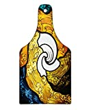 Lunarable Trippy Cutting Board, Pop Art Style Funky Unusual Stained Glass Window Thai Art Pattern Traditional Image, Decorative Tempered Glass Cutting and Serving Board, Wine Bottle Shape, Multicolor