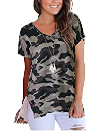 Womens Short Sleeve Floral Print V-Neck T-Shirt Tops