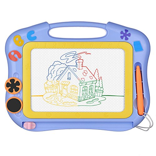 Magnetic Drawing Board Erasable for Kids - Colorful Magna Doodle Drawing Board Toys - Gifts for Toddlers Kids Writing Sketching Pad - Travel Size- Light Purple