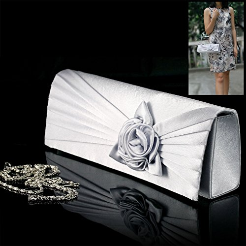 Wunderbar Silber Damen Tasche Party Abendtsche Satin Clutchtasche Rosa