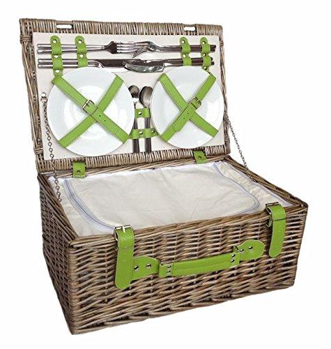 """#klassischer Picknickkorb """"Green Chiller"""" für 4 Personen#"""