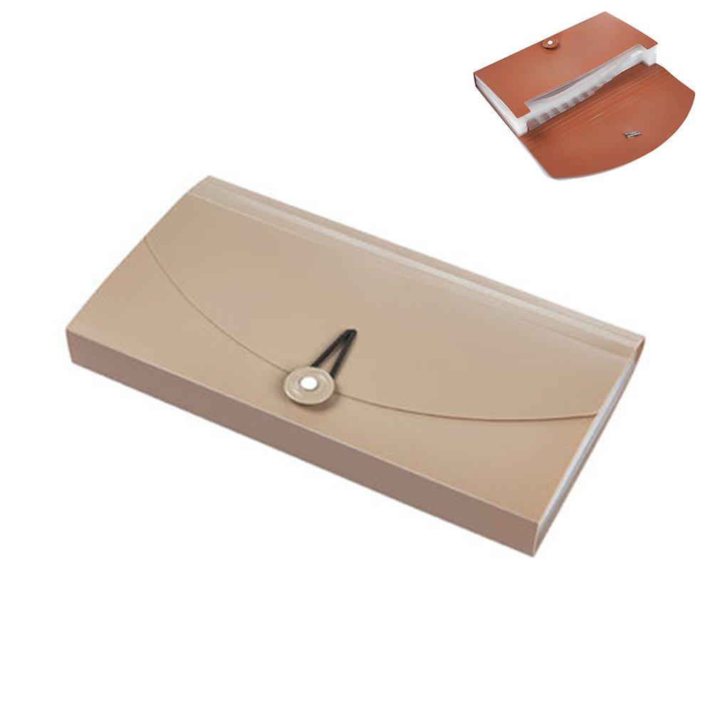 Oak-Pine 13 Pocket Expanding Check Bill File Folder Small Accordion File Folder Expandable Card Ticket Holder File Storage Folder Plastic Business Document Organizer Wallet Case(Coffee Translucent) Generic