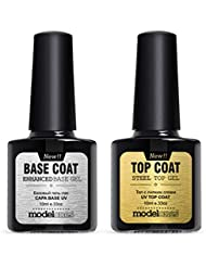 Modelones UV LED Soak Off Top Coat and Base Coat Set for Gel Nail Polish, New Upgraded Formula Long-Lasting and Shiny Finish, 0.33 OZ, 2 PCS
