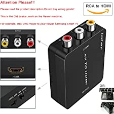 RCA to HDMI, AV to HDMI, Support 720p 1080p,Composite video (yellow) and stereo audio (white and red) to HDMI Converter