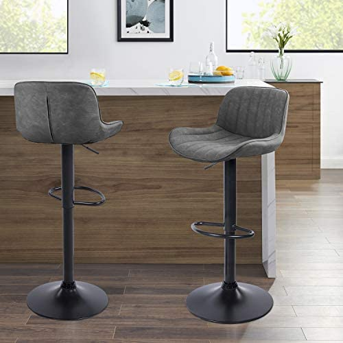 Volans Mid Century Modern Faux Leather Swivel Adjustable Height Bar Stools Set of 2