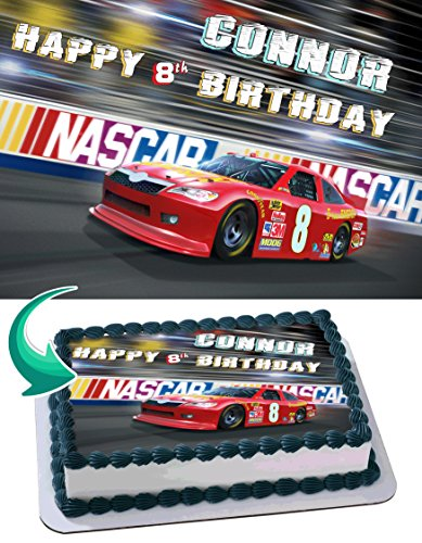 - Nascar Racing Cars Cake Topper Personalized Birthday 1/4 Sheet Decoration Custom Sheet Party Birthday Sugar Frosting Transfer Fondant Image ~ Best Quality Edible Image for cake