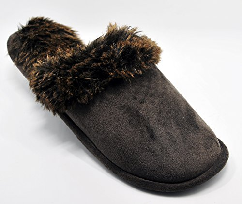Memory YUTIANHOME Slip Size Slippers Non 6 Fur Men Winter Warm Faux For Shoes Luxe Foam Brown Dark 11 House HwBqYxHr