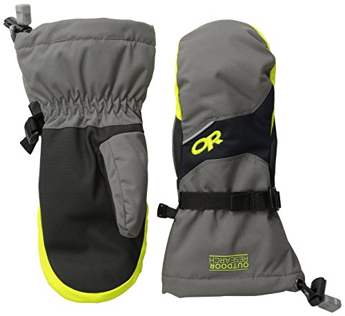 Outdoor Research Kid's Adrenaline Mitts,  Large - (Charcoal/Black/Lemongrass)