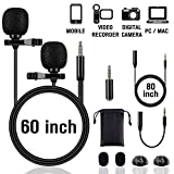 Lapel Microphone Lavalier Professional Grade Condenser Omnidirectional Noise Cancelling Clip-on Speaker Mic for Apple iPhone iPad Mac Android Smartphones Interview Video Recording