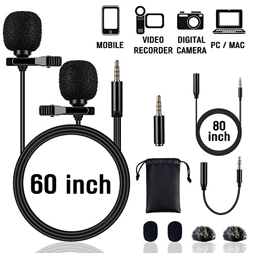 Lapel Microphone Lavalier Professional Grade Condenser Omnidirectional Noise Cancelling Clip-on Speaker Mic for Apple iPhone iPad Mac Android Smartphones Interview Video Recording by CableMonsta