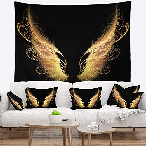 Designart TAP13095-80-68 ' Golden Angel Wings on Black' Abstract Blanket Décor Art for Home and Office Wall Tapestry, x Large: 80 in. x 68 in. in, Created On Lightweight Polyester Fabric - Golden Angel Art