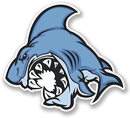 2 x Angry Shark Vinyl Sticker Laptop Travel Luggage #4241