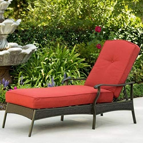 Outdoor Powder-coated Steel Frame Adjustable Back Chaise Lounge in Red