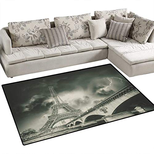 Eiffel Tower Anti-Skid Rugs Storm Above Eiffel Tower Dramatic Night Sky View with Flash of Thunder Dark Clouds Girls Rooms Kids Rooms Nursery Decor Mats 48