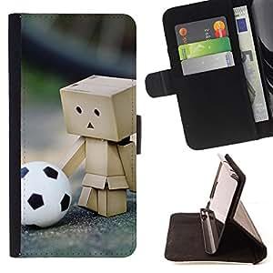 BullDog Case - FOR/HTC DESIRE 816 / - / Cute Footbal Box /- Monedero de cuero de la PU Llevar cubierta de la caja con el ID Credit Card Slots Flip funda de cuer