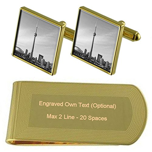 Skyline tone Money Engraved Clip Toronto Gift Tower Set Cufflinks Gold Canada nRWfRSUa