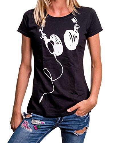 T shirt corte Nero maniche Maglietta donna cuffie gqT887