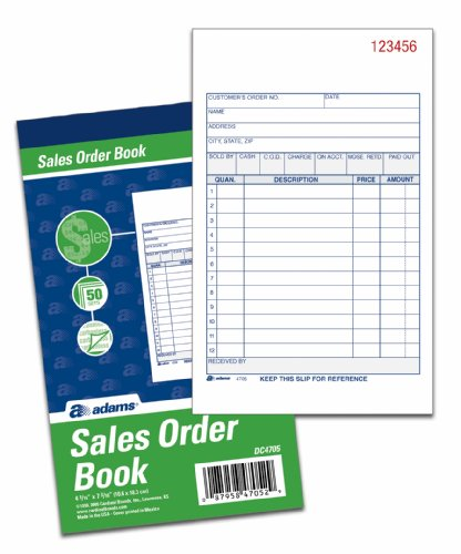 Tops Purchase Order (Adams Sales Order Books, 2-Part, Carbonless, White/Canary, 4-3/16 x 7-3/16 Inches, 50 Sets per Book, 3 Books (DC4705-3))