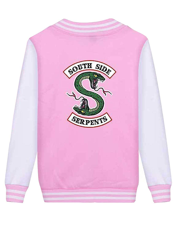 Unisex Giacca Riverdale Giacca Donna Invernali Elegante Baseball Riverdale Southside Serpents Sportiva Jacket Cappotto Manica Lunga Maglione Felpa per Ragazza e Ragazzo