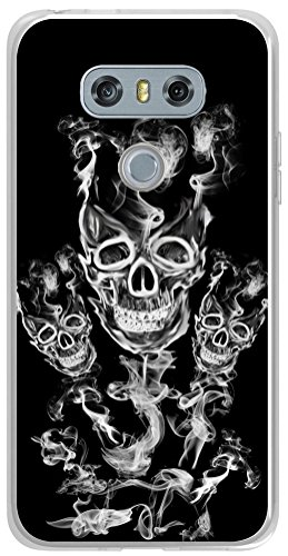 tor G6 Cover Skin Protective Replacement TPU Rubber Clear Compatible with LG G6 + Cool Skull Smoke Design ()