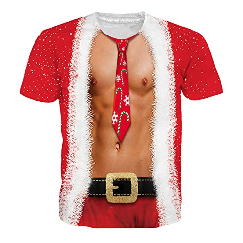 RAISEVERN Mens Red Funny Ugly Christmas Muscle Chest Tie Designed Fake Two Pieces Graphic Hip Hop Humorous Xmas T Shirt Tees Apparel