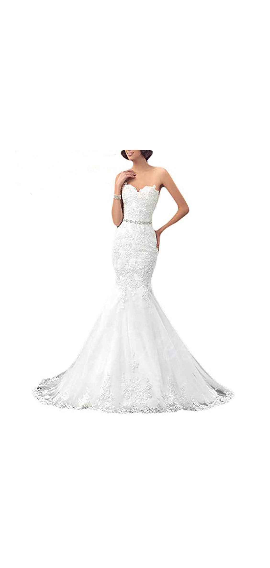 Womens Formal Strapless Sweetheart Mermaid Wedding Dress