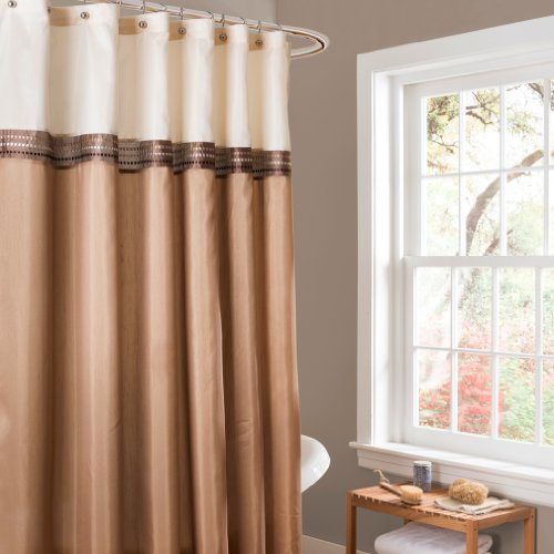 Striped Brown Color - Lush Decor Terra Color Block Shower Curtain Fabric Striped Neutral Bathroom Decor, 72-Inch Beige/Ivory