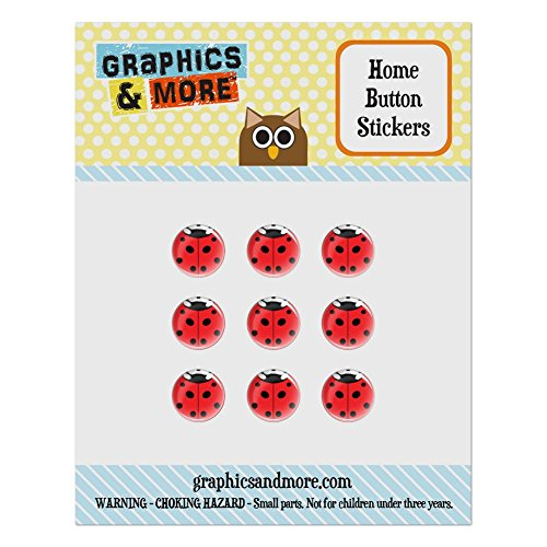 (Set of 9 Puffy Bubble Home Button Stickers Fit Apple iPod Touch, iPad Air Mini, iPhone 4/4s 5/5c/5s 6/6s Plus - Insects Ladybug Butterfly Dragonfly - Ladybug Insect)