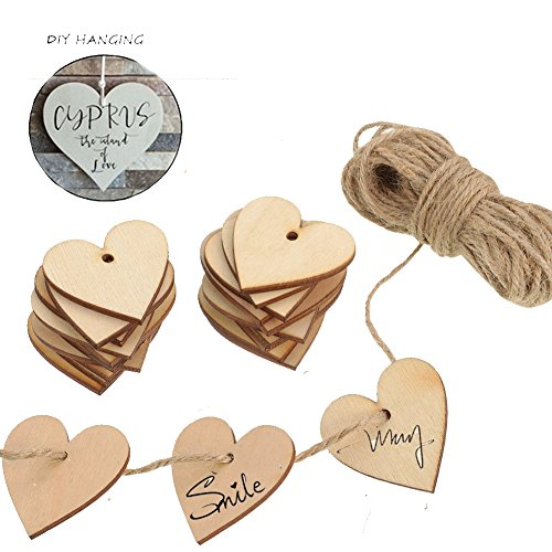 ToBeIT Wood Heart Embellishments 50mm 100pcs Wooden Heart and 10 m Natural Twine for Wedding DIY Arts Crafts Card Making Valentine ()