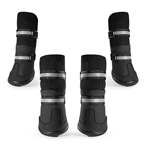 Dog Boots Water Resistant Dog Shoes Anti-slip Dog Paws Protector for Medium to Large Dogs Labrador Husky Shoes 4 Pcs (L(3.2