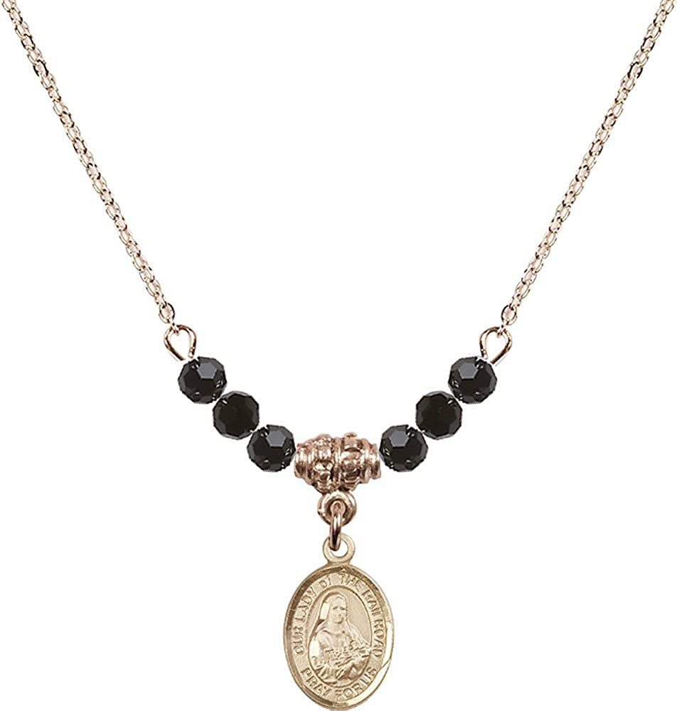 18-Inch Hamilton Gold Plated Necklace with 4mm Jet Birthstone Beads and Gold Filled Our Lady of the Railroad Charm.