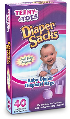 Teeny Toes Baby Disposable Diaper Sacks, 40 Count