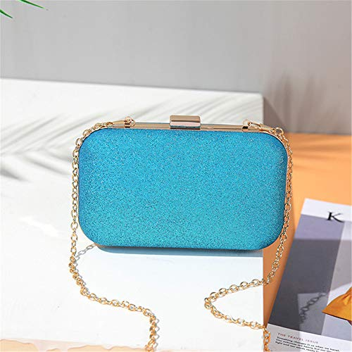 Gold square head box package large evening bag European and American fashion chain Messenger lady small bag wild makeup bag blue 17.5cm11.5cm6cm